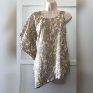 Michael Kors tan cream silk blouse